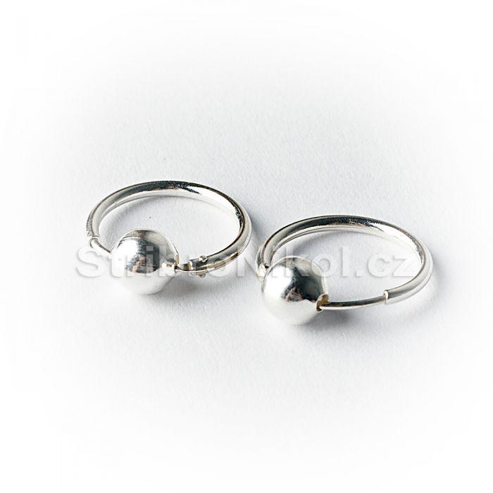 6338d9196 Stříbrné náušnice kruhy s kuličkou 2118