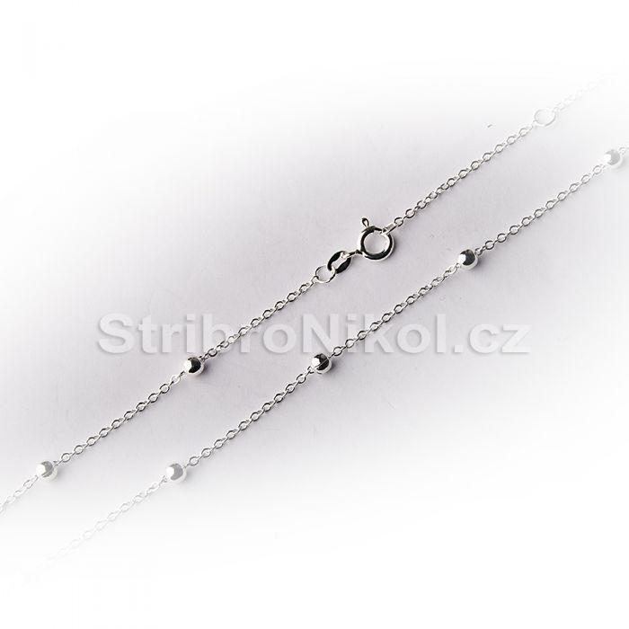 Stříbrný dámský řetízek - kuličkový 846b7feedeb