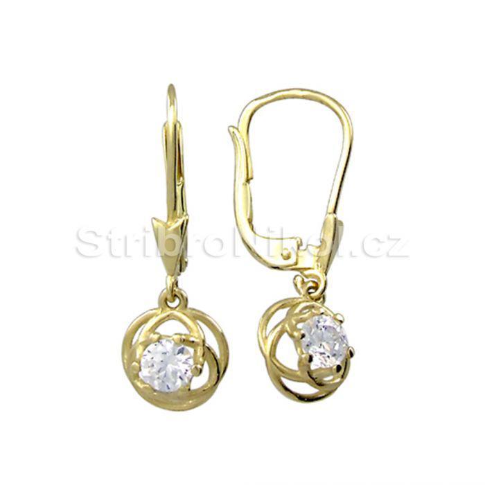 Dámské zlaté náušnice se zirkonem 00903 5344145c455